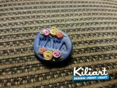 Handmade brooch customized it with name..polymer clay..