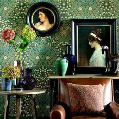 Period done right...so fresh and pretty!  Love the portraits and the wallpaper!