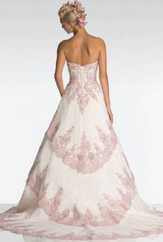 2000 Coming Out Wedding Dresses With Pink Accents