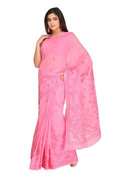 Ada #handembroidered Pink #Cotton #Lucknowi #Chikan Saree with Blouse - A220448 - #AdaChikan