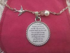 Daughter In Law Necklace Pendant Wedding Gift by TheSmileEmporium, $24.00