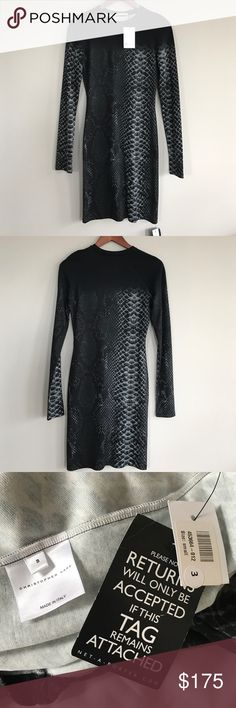 """NWT Christopher Kane Snakeskin Bodycon dress NWT, authentic from Net-A-Porter, retail $645, crew neck bodycon dress in shades of black and grey, measurements taken laid flat: bust 17"""", waist 13"""", hips 16"""", length 37"""" Christopher Kane Dresses"""