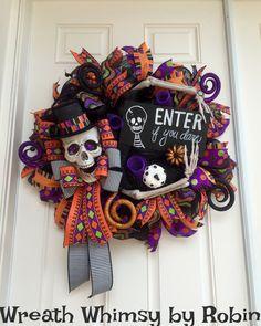 Halloween Skeleton Deco Mesh Wreath in by WreathWhimsybyRobin