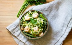 In 20 minutes, whip up a quick and easy low-carb garlic shrimp and asparagus zoodle pasta. This perfect weeknight dinner uses only 10 simple ingredients. Seafood Recipes, Pasta Recipes, Dinner Recipes, Cooking Recipes, Healthy Recipes, Noodle Recipes, Healthy Foods, Healthy Carbs, Shellfish Recipes