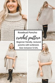 Beginner-friendly, textured poncho with turtleneck! Size inclusive up to Poncho-Rollkragenpullover Crochet Pattern - Rosebud Poncho Crochet Poncho Patterns, Crochet Shawls And Wraps, Crochet Jacket, Knitted Poncho, Crochet Cardigan, Crochet Scarves, Crochet Clothes, Sewing Patterns, Crochet Skirts