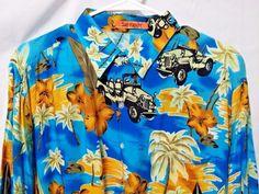 Hawaiian Beach Island Blue Button Down Shirt 100% Rayon Beach Casaul shirt sz lg #sunfusion #ButtonFront