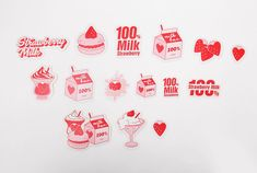 Strawberry Milk Strawberry Plate Sticker - I know you wanna kiss me. Thank you for visiting CHUU. Blog Design, Logo Design Inspiration, Cute Illustration, Digital Illustration, Notebook Cover Design, Strawberry Milk, Aesthetic Stickers, Planner, Art Store