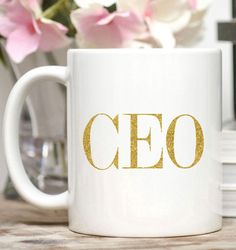 CEO Mug / Boss Gift / Entrepreneur Gift / Glitter Mug / 11 or 15 oz Mug / Free Gift Wrap on Request This CEO mug is perfect for the new or Mantra, Boss Mug, Cool Things To Buy, Things To Come, Babe Quotes, Gold Foil Print, Entrepreneur Motivation, Gifts For Boss, White Gift Boxes