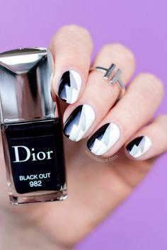 Lightning bolt Black and White nails    10 Easy Nail Art ideas
