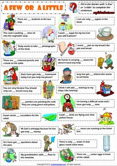 Quantifiers A Few and A Little ESL Exercises Worksheet