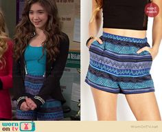 Riley's blue and purple printed shorts on Girl Meets World. Outfit Details: http://wornontv.net/38166/ #GirlMeetsWorld