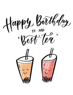 "Happy Birthday to my ""BEST-TEA"" Boba Birthday Card for Best Friend 