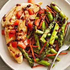 Busy night? Save time by cooking your entire meal at the same time. This Balsamic Chicken recipe is full of crisp-tender asparagus, carrots, and chopped tomato. More one-dish dinners: http://www.bhg.com/recipes/healthy/dinner/heart-healthy-one-dish-dinners/ #myplate #chicken