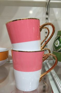 c. wonder pink + gold mugs