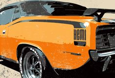 1970 orange Dodge HEMI CUDA Muscle Car Pop Art illustration - mediagraffitistudio