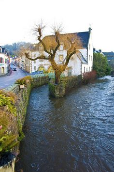 Early morning view of the stream and an old mill in Pont Aven