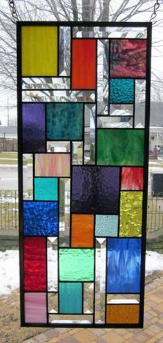 Zephyr Stained Glass Window Panel Abstract Geometric EBSQ Artist | stainedglassheirlooms - Glass on ArtFire