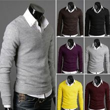 2014 New Men's Sweater Autumn Casual Slim Fit Pullovers V-neck Sweater Men Long Sleeve 6 Colors plus size M-XXL free shipping(China (Mainland))