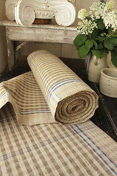 Antique Homespun Flax Hemp Fabric Upholstery Table Runner Stunning   eBay