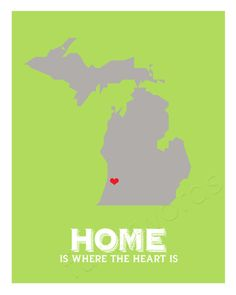 Home State - Michigan - digital printable word art via --- they put the heart where your hometown is! :D