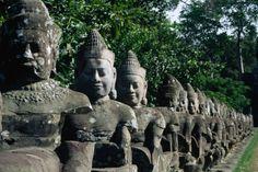 Stone statues of gods in Cambodia