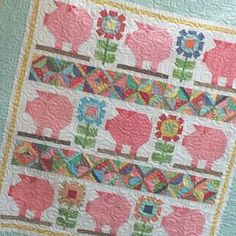 Lori Holt New farm girl vintage quilt.  Would be very cute with hen block in place of pig.
