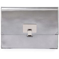 Proenza Schouler Large Metallic Lunch Bag Clutch ($990) ❤ liked on Polyvore featuring bags, handbags, clutches, handbags clutches, silver, proenza schouler pochette, flap handbags, metallic purse, metallic clutches and man bag