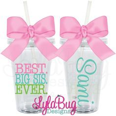BEST. BIG SIS. EVER. Personalized Acrylic Tumbler LylaBug Designs Big Sister, Sorority Sister Gift Cheer Gifts, Cheer Bows, Diy Gifts, Vinyl Crafts, Vinyl Projects, Craft Projects, Teacher Appreciation Week, Teacher Gifts, Big Sister Gifts