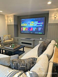 Family room in basement with gray vertical planked walls,  Interior Design #interior , #interiordesigner , #art , #home , #homedecor , #homedesign , #room , #roomdecor , #kitchen , #kitchendesign , #ideas, #bathroom, #bedroom, #livingroom