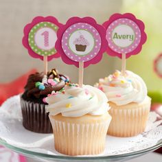 Pink & Green Cupcake Toppers