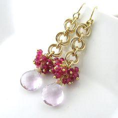 Gemstone Cluster Earrings Chainmail Flower by JenniferCasady, $118.00