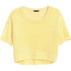 H&M Knitted jumper (78 VEF) ❤ liked on Polyvore featuring tops, sweaters, shirts, t-shirts, yellow, h&m tops, shirts & tops, h&m shirts, h&m and yellow top