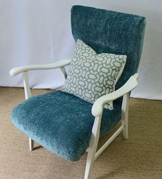 Newly updated vintage turquoise chair by FSFurnishings on Etsy