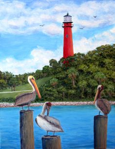 """Jupiter Inlet Pelicans"" perched on pier posts with the Jupiter Lighthouse in the background, an original painting by North Carolina artist, Fran Brooks. www.artistnannie.com"