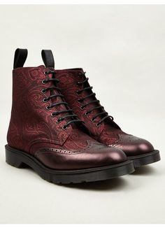 Dr Martens : Men's Cherry Red MIE Calder Paisley Silk Boots