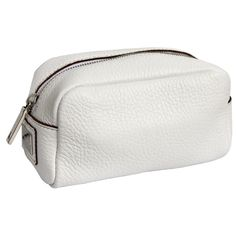 Dolce & Gabbana Pebbled Leather Small Zippered Travel Case - White ($292) ❤ liked on Polyvore featuring bags and luggage