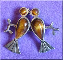 Fabulous TONO Cecilia Taxco Mexican Sterling LOVE BIRDS Signed Vintage Brooch