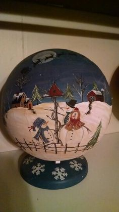 Hp Winter globe painted by Phyllis Spaw...a Maxine Thomas design.