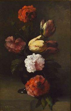 "stilllifequickheart: ""Germain Theodore Ribot Still Life of Tulips and Peonies 19th century """