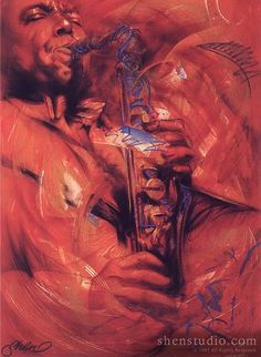 Portrait painting of a saxophone player by Shen, titled Blue Bird----Tips for Promoting your Artwork & Yourself