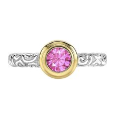 OCTOBER - Sterling Silver & 18ct Gold 5mm Round Pink Tourmaline Spiral Twinkle Ring
