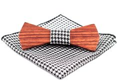 Elegant Wooden Bow Tie Rosewood + Hounds-tooth pocket square by ChicBowTie on… Men Dress, Dress Up, Wooden Bow Tie, Hounds Tooth, Pocket Square, Bows, Elegant, Accessories, Arches