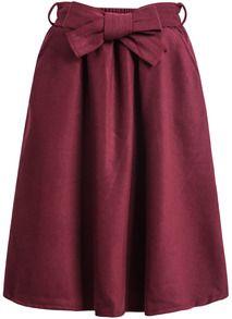 jupe en laine ornée de nœuds -vineux
