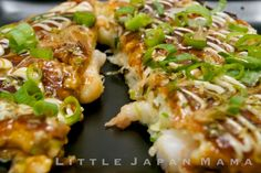Ebi (Shrimp) Okonomiyaki Recipe.  This was also YUM YUM tasty. My only problem was that I could only cook one at a time in the pan, which meant serving it for dinner took quite a while, and the ones done first got cold and soggy.  I haven't had any idea of what I could do differently next time, any suggestions would be appreciated!