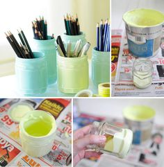 Painted storage jars by Sharon McMullen