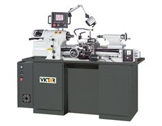 618e Digital Threading Control Toolroom Lathe by VICTOR Machines. Super precision toolroom lathe with Digital Threading control is driven by a smooth 3 HP frequency controlled motor.Easy to use LCD touchscreen to simplify threading operations by selecting target TPI or mm pitch on the screen. By eliminating traditional threading gearbox, Victor 618e toolroom lathe is easy to maintain, yet provides superior accuracy and performance.