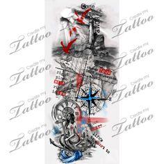 Trash polka nautical sleeve. | revisions #209825 | CreateMyTattoo.com