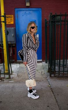 Altuzarra striped skirt and Chanel bag