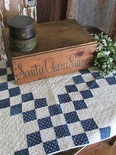 Densely-Quilted-ANTIQUE-Indigo-Blue-White-c1880-Doll-Crib-or-Table  Vintageblessings
