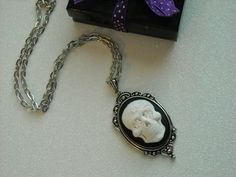 White Day of the Dead Skull Antique Silver by OctoberPetals